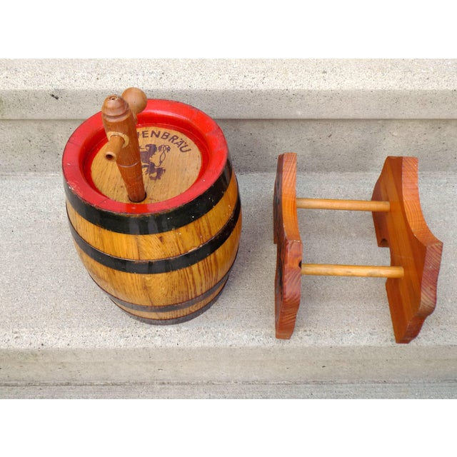 Lowenbrau Beer Wood Keg & Base For Sale - Image 10 of 11