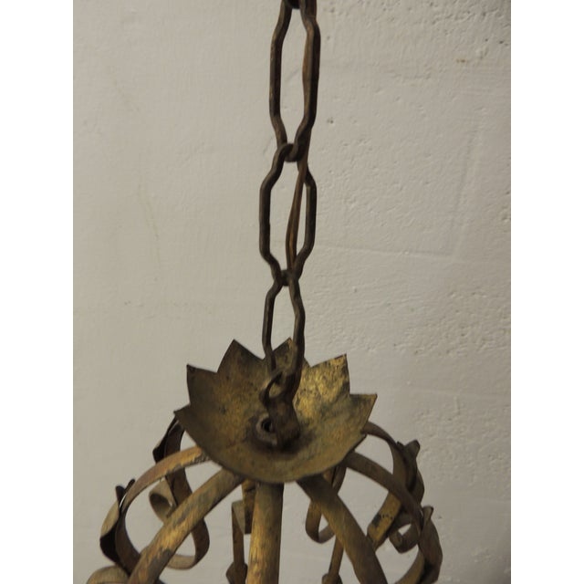 Vintage Iron and Gold Leaf Forged Hanging Lantern For Sale In Miami - Image 6 of 9