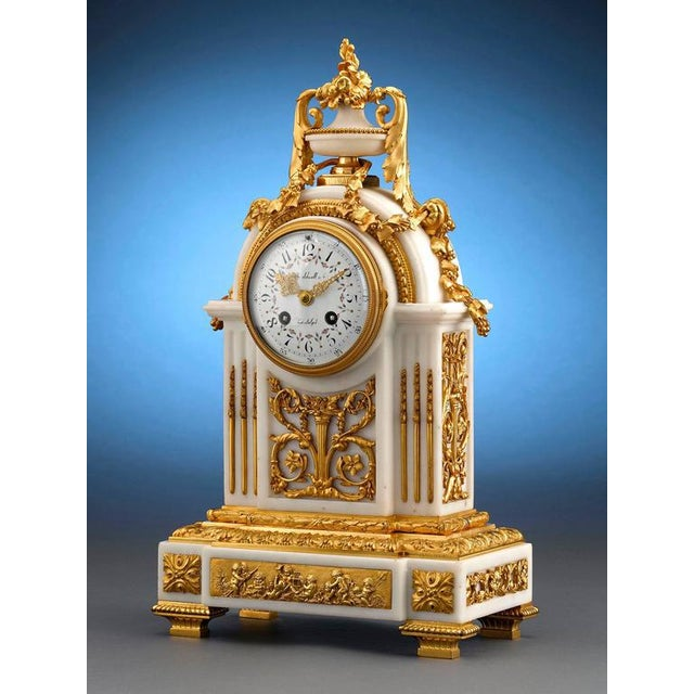 J. Caldwell Marble and Doré Bronze Mantel Clock For Sale - Image 4 of 5