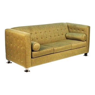 Ward Bennett Chrome Leg Upholstered Sofa For Sale
