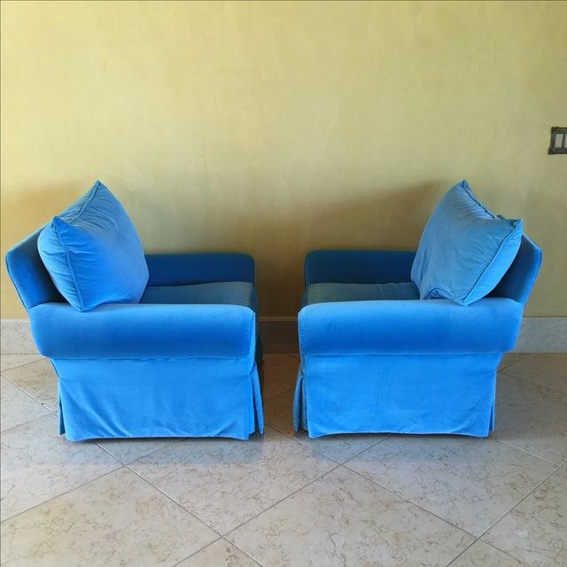 Venetian Blue Club Chairs - A Pair - Image 5 of 8