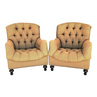 Thomasville Ernest Hemingway Walden 462 Deep Tufted Lounge Chairs - a Pair For Sale