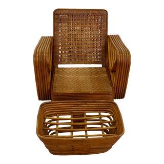 Vintage Woven Seat Rattan Armchair + Footstool