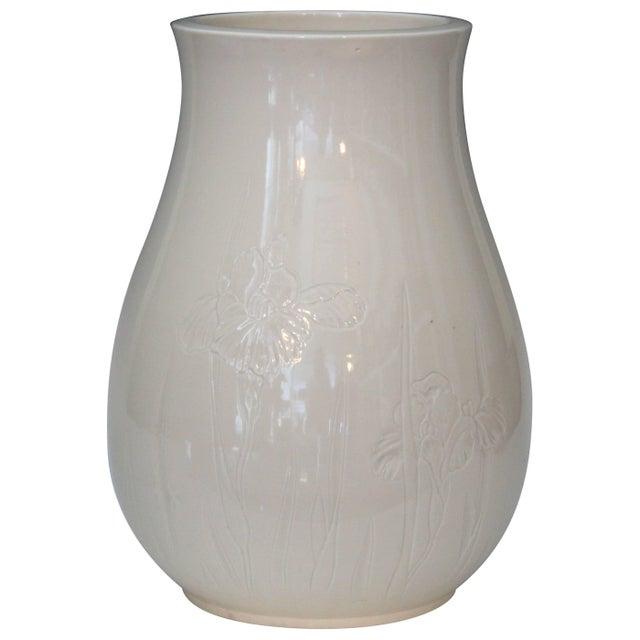 Antique Japanese Carved Studio Blanc De Chine Porcelain Vase For Sale - Image 11 of 11
