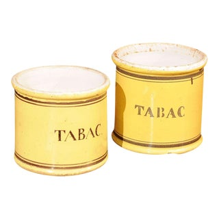 "Yellow Glazed Ceramic ""Tabac"" Jars - a Pair For Sale"