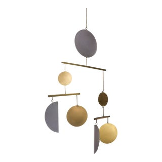 Corie Humble Kinetic Brass and Acrylic Moon Mobile For Sale