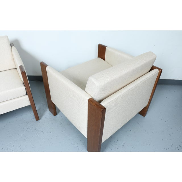 Walnut pair of Cubed Lounge Chairs - Image 9 of 10