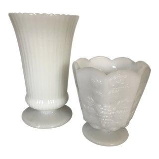 Mid-Century Americana Milk Glass Vases - a Pair For Sale