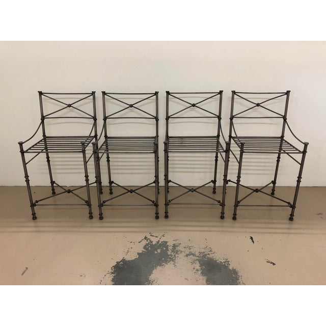 Giacometti Style Counter Stools - Set of 4 For Sale - Image 9 of 9
