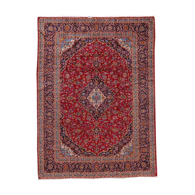 "Vintage Persian Kashan Rug, 9'8"" X 13'1"" For Sale - Image 10 of 10"