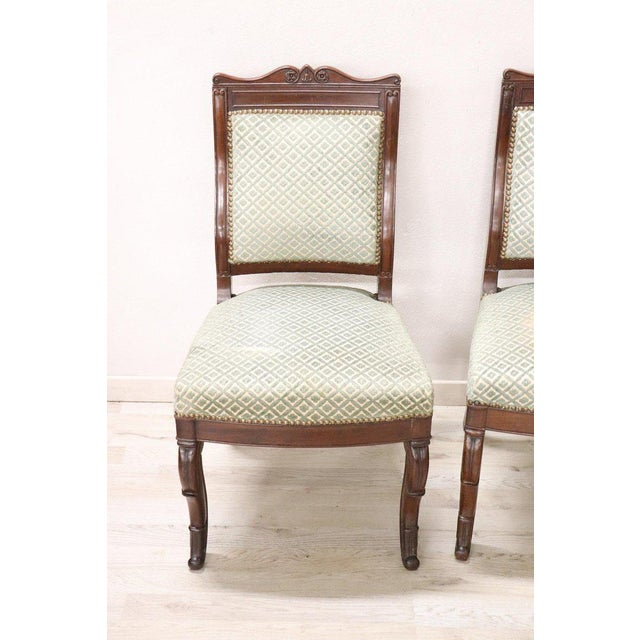 Series of six refined antique mahogany chairs, circa 1825s. Charles X. Mahogany is finely carved with moved front legs....