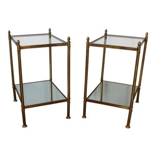 1960s Vintage French Maison Jansen Brass Side Tables - A Pair
