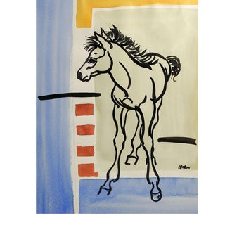 "Modernist ""Colt"" Watercolor Abstract Painting For Sale"