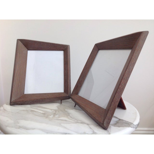 1940's Cerused Oak Modern Picture Frames - a Pair For Sale - Image 4 of 5