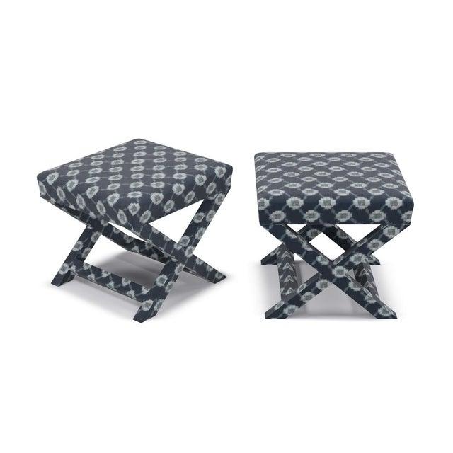 Contemporary X Bench in Lattice Shibori For Sale - Image 3 of 4