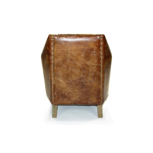 Modern Rustic Leather & Velvet Club Chair - Image 3 of 3