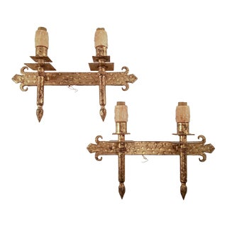 1960s Spanish Two Arm Linear Gilded Metal Sconces - a Pair For Sale