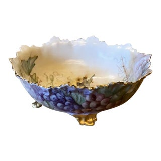 1902 Hand Painted Coiffe Limoges Footed Porcelain Bowl With Grape Motif For Sale