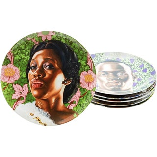 Contemporary Plate Set With Portraits by Kehinde Wiley - Set of 6 For Sale