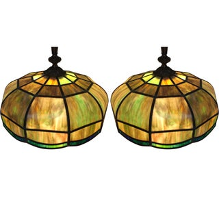 Tiffany-Style Stained Glass Light Fixtures - A Pair