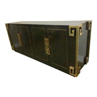 Bernhard Rohne Mastercraft Burled Carpathian Elm and Brass Buffet Server Bar For Sale