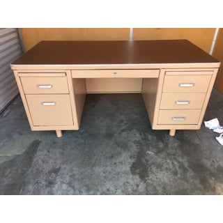Classic Vintage Tanker Desk with Post Pole Legs Preview
