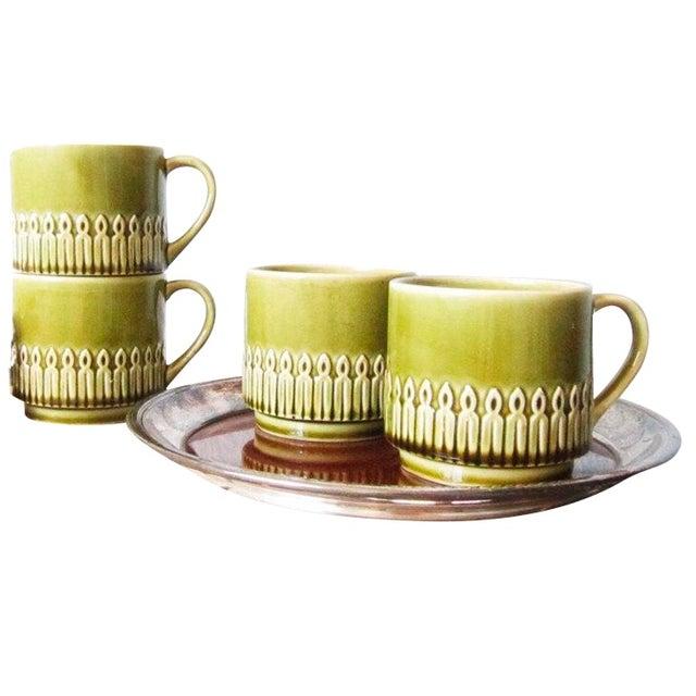 Green Drip Glaze Mugs & Tray - Set of 4 - Image 1 of 6