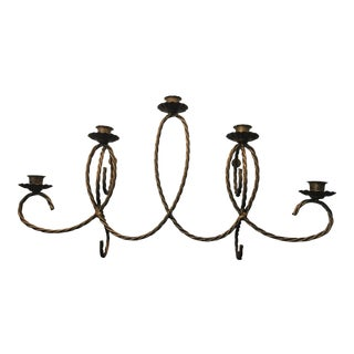 Vintage Hollywood Regency Gold Twisted Rope 5 Light Wall Sconce For Sale