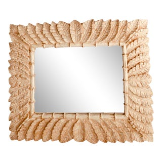 Vintage Palm Leaf Faux Bamboo Wall Mirror For Sale