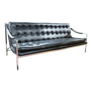 Frank & Sons Chrome and Black Leatherette Sofa Mid Century Modern For Sale
