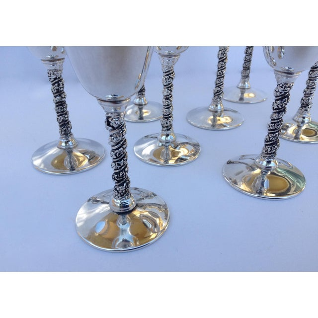 "Metal Vintage Silver Plate Spanish ""Valerio"" Drinks Cordials - Set of 8 For Sale - Image 7 of 11"