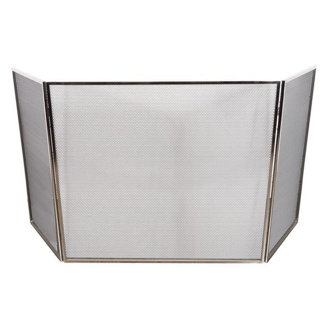 Silver Custom Polished Nickel and Mesh Adjustable Three-Panel Fire Screen For Sale - Image 8 of 8
