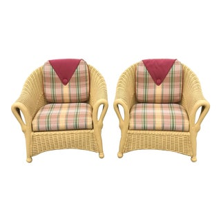 Victorian Swan Arm Bamboo and Wicker Chairs - a Pair For Sale