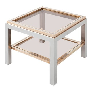 Willy Rizzo Square Side Table in Brass, Chrome and Glass For Sale