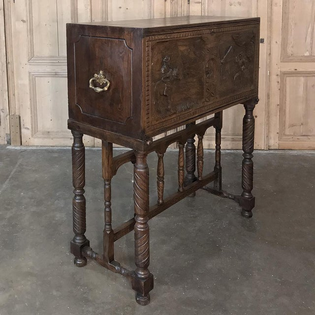 Mediterranean 19th Century Spanish Raised Cabinet Carved With Don Quixote For Sale - Image 3 of 13