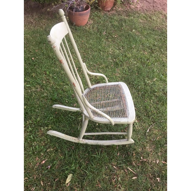 Boho Chic Vintage Boho Light Green Wicker Rocking Chair Rocker For Sale - Image 3 of 9