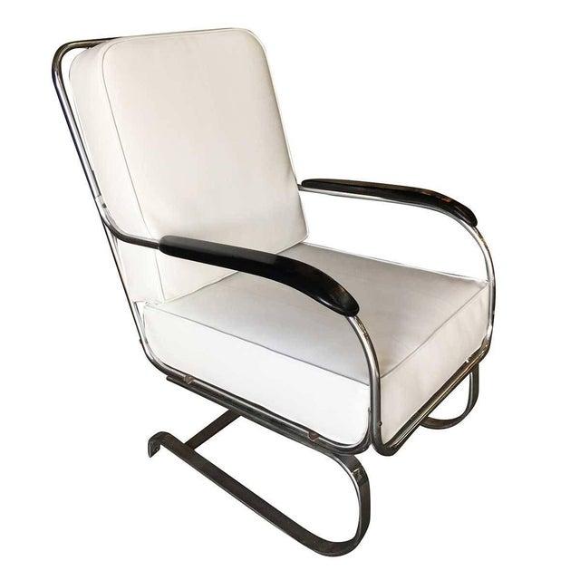 """White Kem Weber Chrome Art Deco Armchair """"Springer Chair"""" for Lloyd For Sale - Image 8 of 8"""