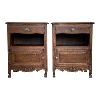 20th Century Pair of Catalan Carved Walnut Tuscan Two Drawers Credenza or Buffet For Sale