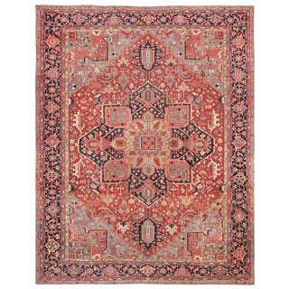 Room Size Antique Persian Heriz Geometric Rug - 11′ × 14′5″ For Sale