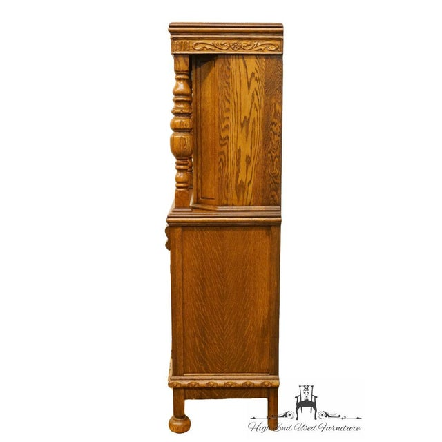 1920's Antique Jacobean Gothic Revival Solid Oak Cupboard For Sale - Image 10 of 13
