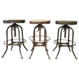 Image of Toledo Industrial Adjustable Height Backless Swivel Stools, Three Available For Sale