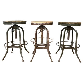 Toledo Industrial Adjustable Height Backless Swivel Stools, Three Available For Sale