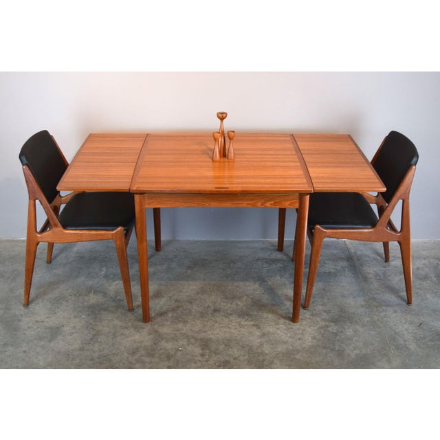 1950s Carlo Jensen Expanding Small Danish Teak Dining Table or Game Table For Sale - Image 5 of 13