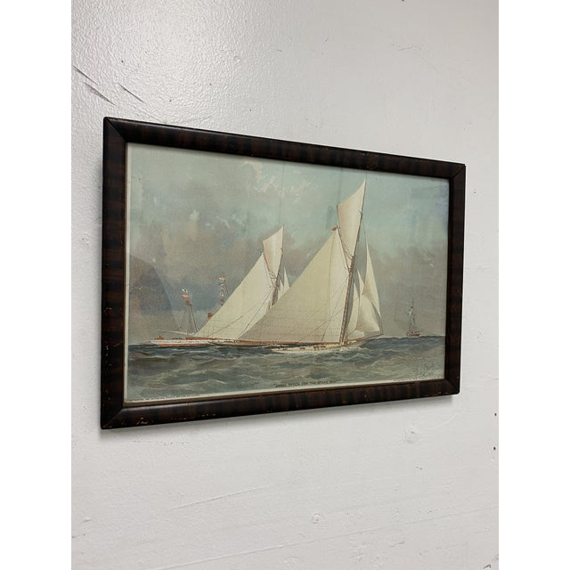 """Design Plus Gallery presents a """"Close Reach For The Stake Boat"""" Framed Art Print. Late 19th-Century rendering of a boat is..."""