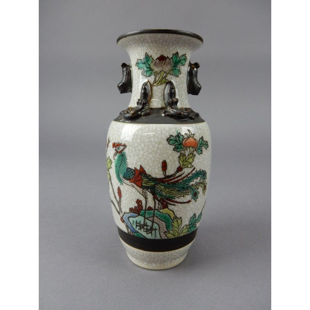 Gorgeous Antique Chinese Crackle Glazed Celadon Vase. Incised Four Character Signed circa 1900. Great colors and detail.