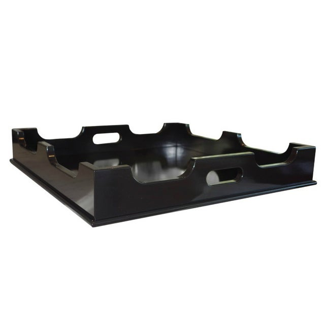 "Oomph ""Edgartown"" Square Black Lacquer Tray - Image 1 of 8"