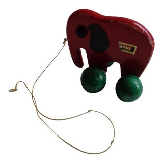 Vintage Mid-Century Swedish Brio Elephant Pull Toy For Sale