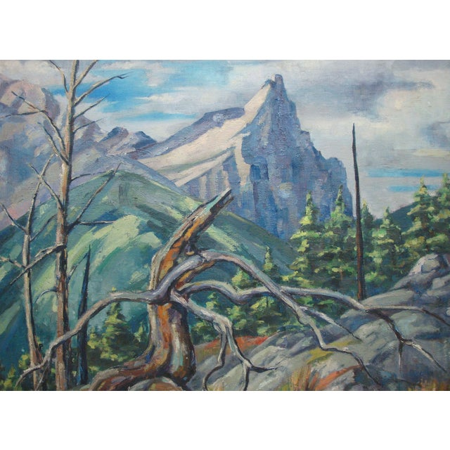 Very large and striking mid-century modern Rocky Mountains landscape. Oil painting on canvas by Ruth Fulda Wacker, niece...