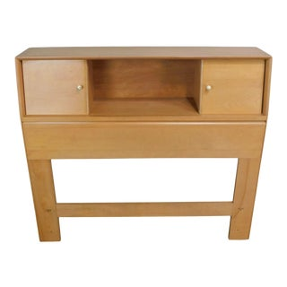 Heywood Wakefield Mid Century Modern Champagne Finish Bookcase Single Headboard (B) For Sale