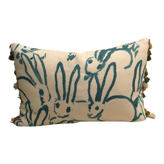 Lee Jofa Groundworks Turquoise Bunny Hutch Print Tassel Trim Pillow For Sale